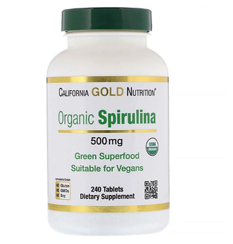 California Gold Nutrition, Органическая спирулина, 500 мг, 240 таблеток