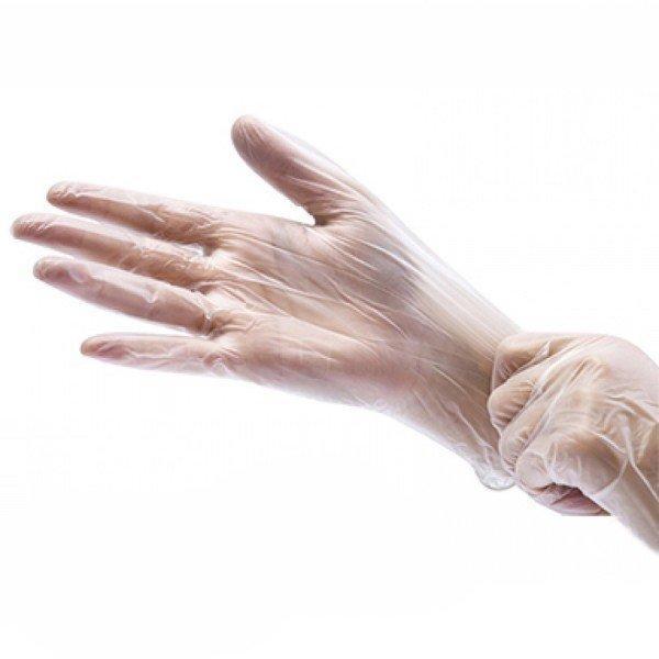 Перчатки виниловые одноразовые. Неопудренные. Прозрачные.