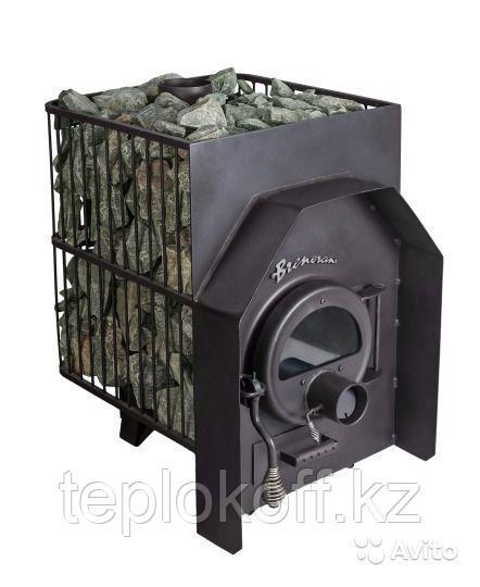 Печь банная Бренеран АОТ - 12 в металлической решетке со стеклом до 25м3