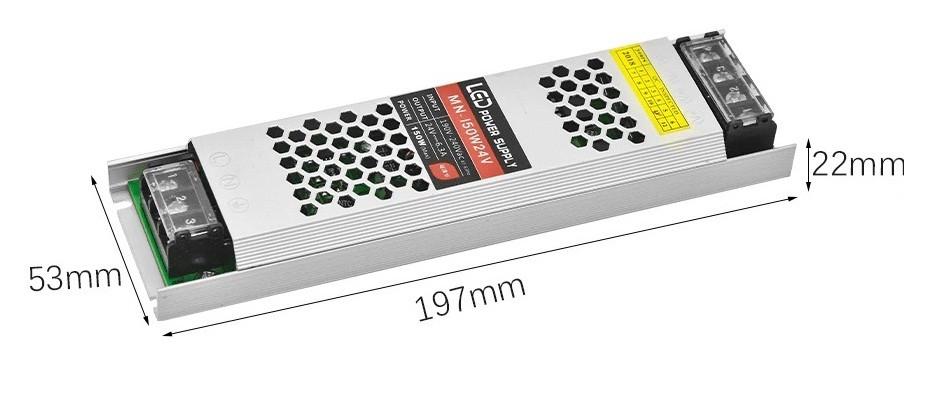 Блок питания для светодиодной ленты 150W(12.5A) (узкий) DC12V, IP20