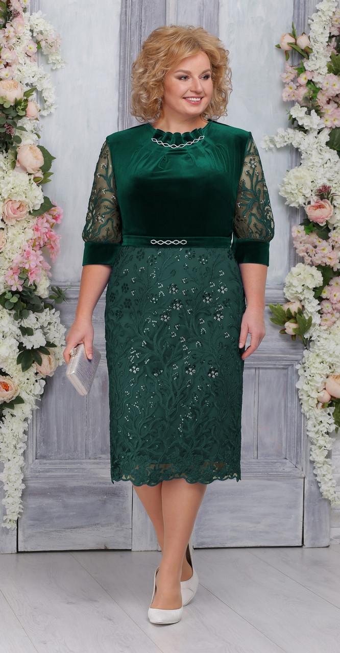 Платье Ninele-5748, изумрудный, 52