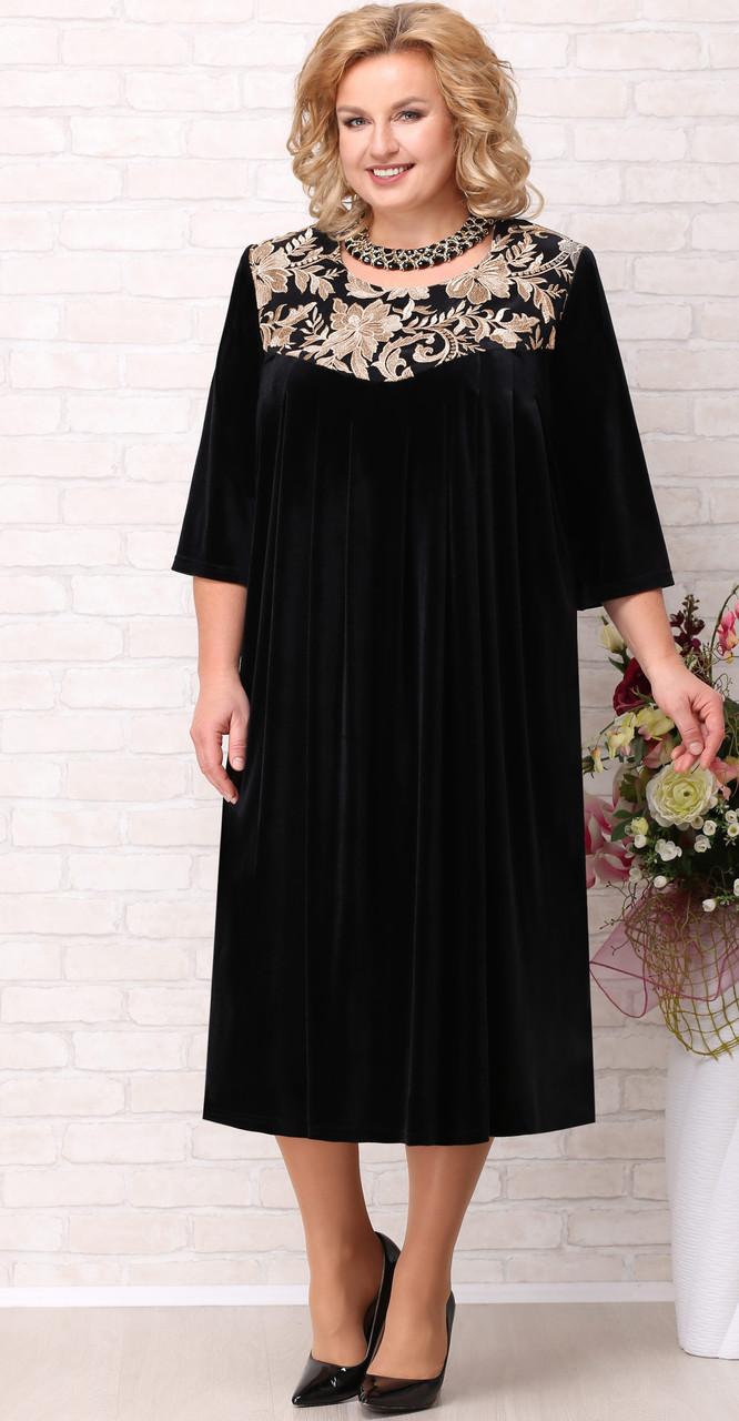 Платье Aira Style-711/1, черный-цветы, 60