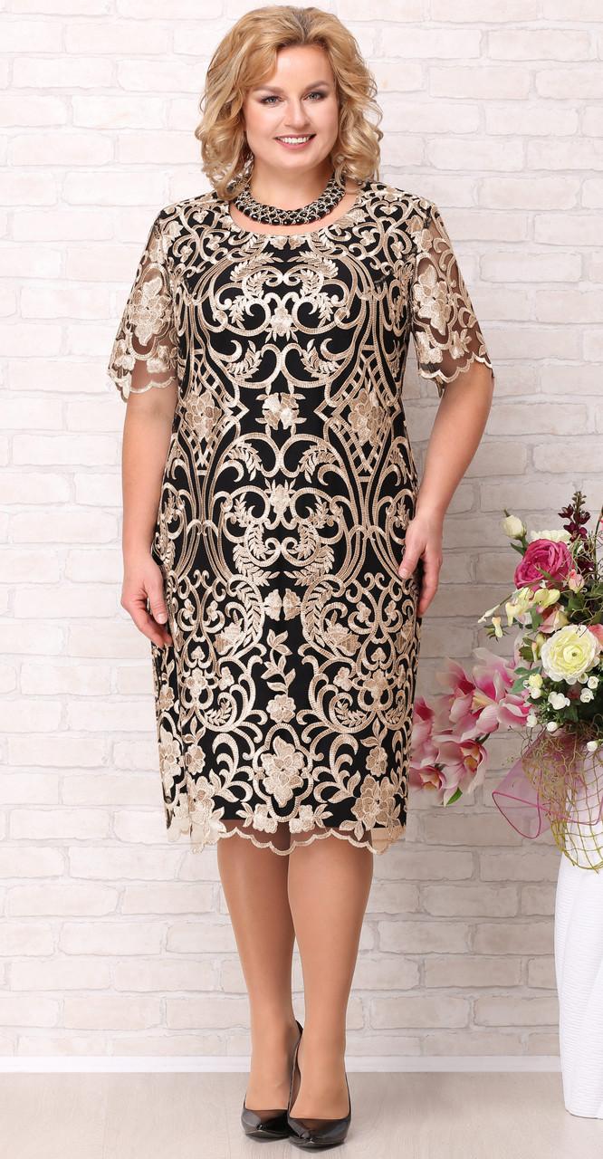 Платье Aira Style-716, черный с золотым узором, 58