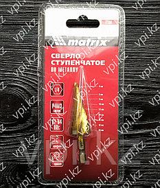 Сверло ступенчатое по металлу, нитридтитановое покрытие, HSS, спиральный профиль 4-20 мм, 9 ступеней, Matrix