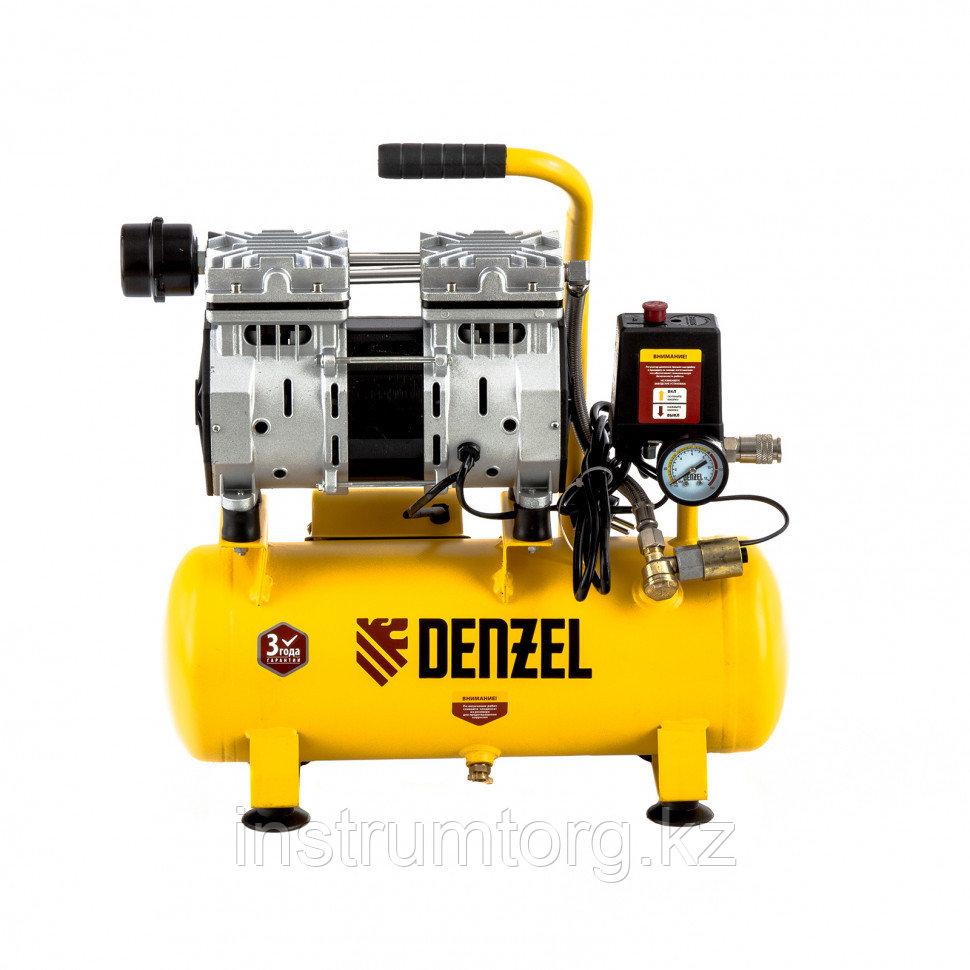 Компрессор DLS650/10 безмаслянный малошумный 650 Вт, 120 л/мин,ресивер 10 л// Denzel