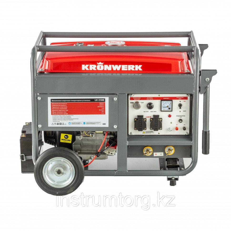 Бензиновая сварочная генераторная установка LK 210Е, 5,0 кВт, 220В, бак 25 л, электрост.// Kronwerk