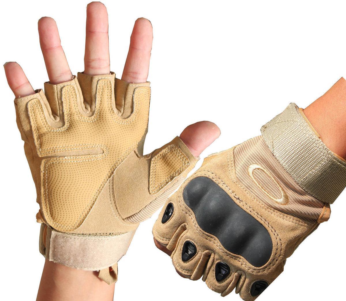 Перчатки тактические без пальцев (цвет коричневый) - фото 3