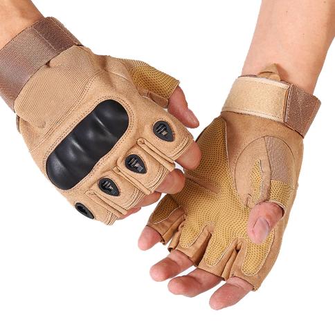 Перчатки тактические без пальцев (цвет коричневый) - фото 2