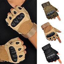 Перчатки тактические без пальцев (цвет коричневый), фото 3