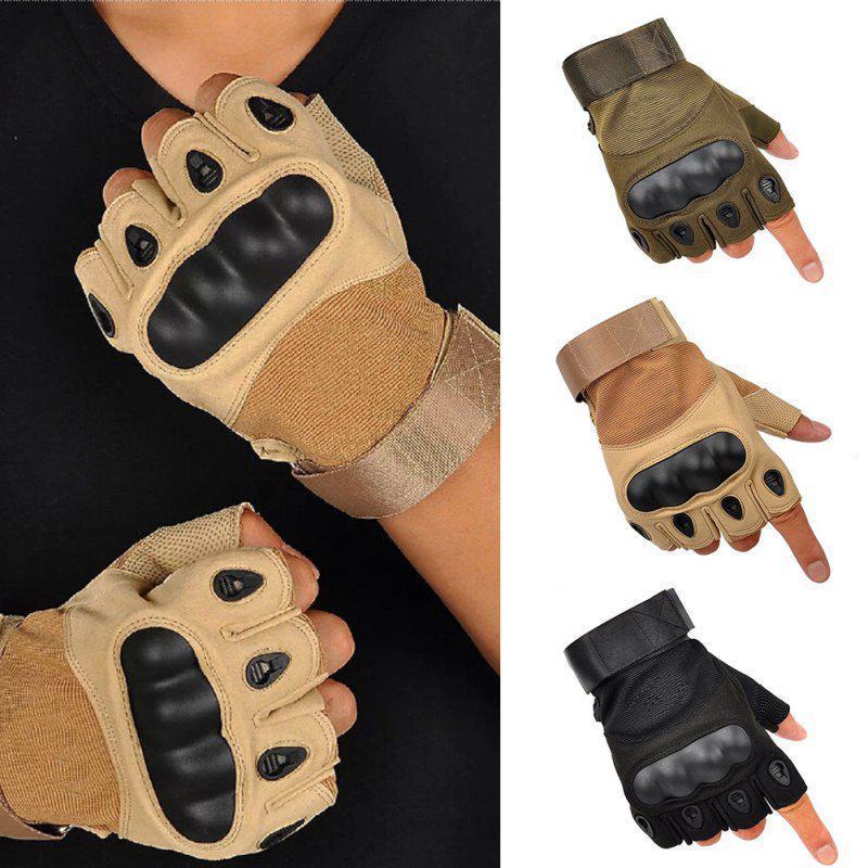 Перчатки тактические без пальцев (цвет коричневый) - фото 4