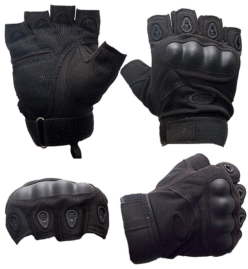 Перчатки тактические без пальцев (цвет черный) - фото 2