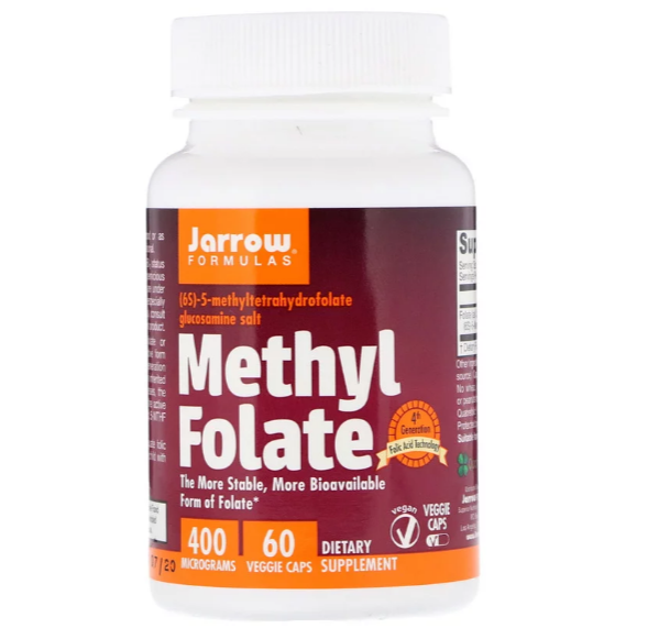 Jarrow Formulas, Метилфолат, 400 мкг, 60 вегетарианских капсул