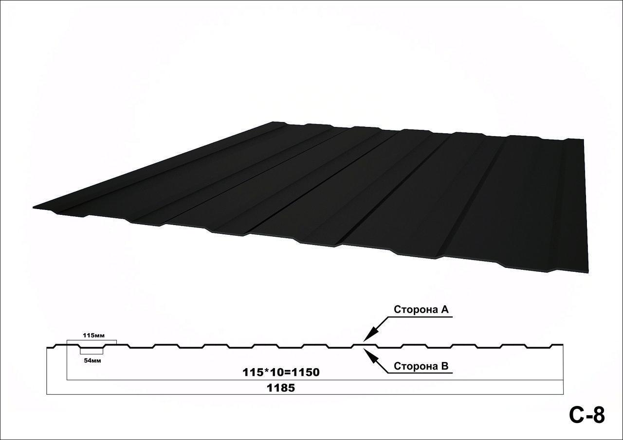 Профнастил оцинкованный с полимерным покрытием С8 глянец RAL3005