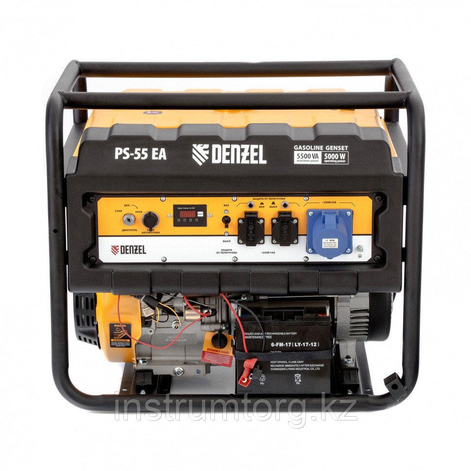Генератор бензиновый PS 55 EA, 5,5 кВт, 230В, 25л, коннектор автоматики, электростартер// Denzel