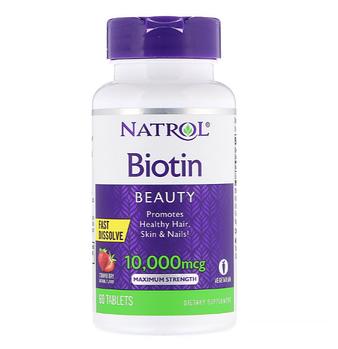 Natrol, Биотин, максимальная эффективность, клубника, 10 000 мкг, 60 таблеток