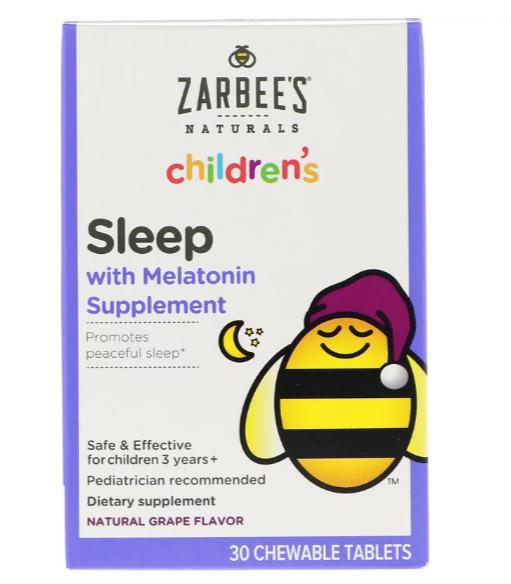 Zarbee's, Детское средство для сна с мелатонином, натуральный ароматизатор со вкусом винограда, для детей