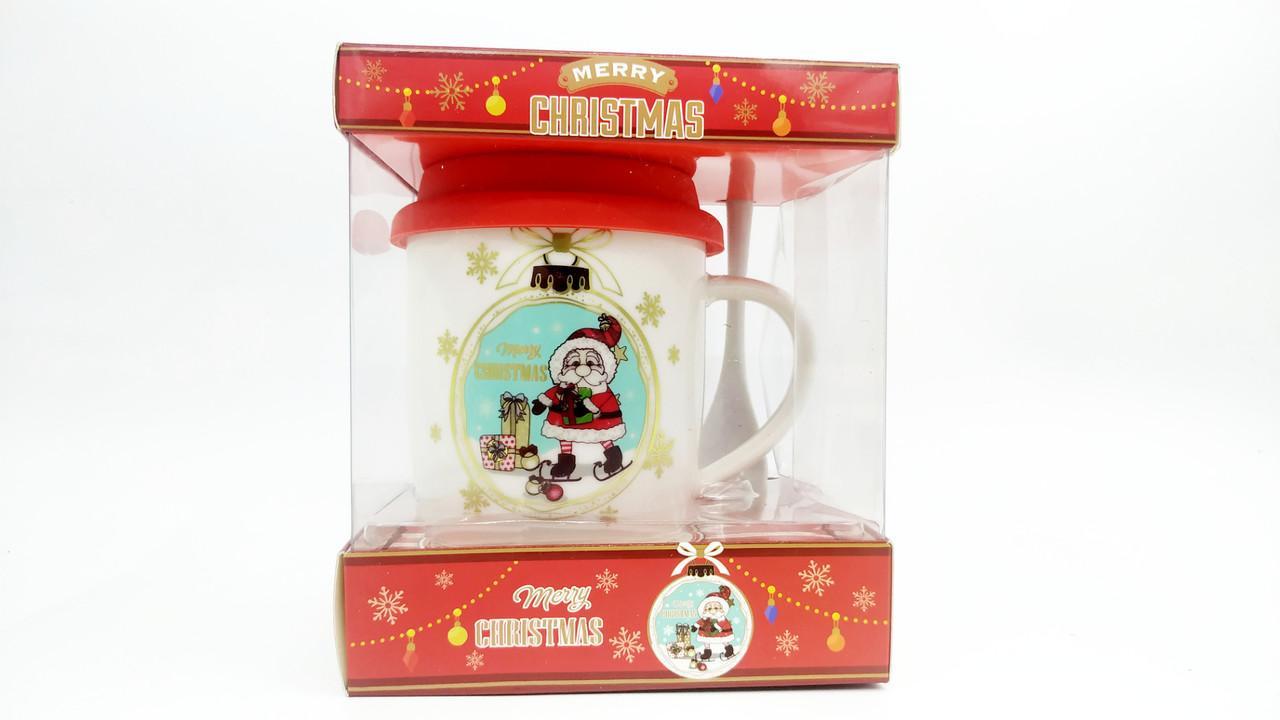 """Кружка""""Merry christmas"""" с крышкой"""