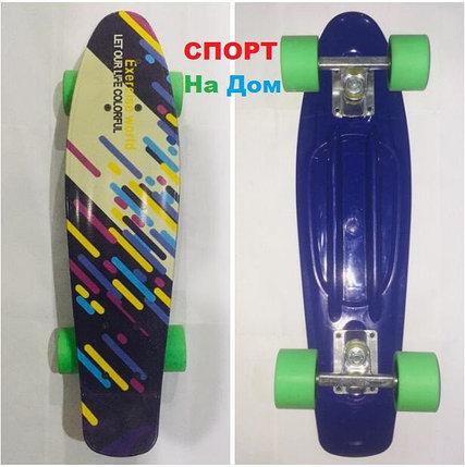 Фиолетовый (зеленые колесики) Пенни Борд (пластборд), фото 2