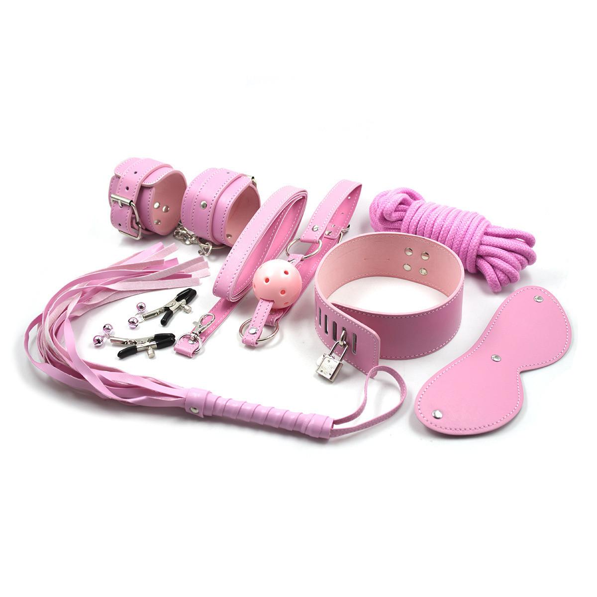 БДСМ набор без меха, 9 предметов, розовый