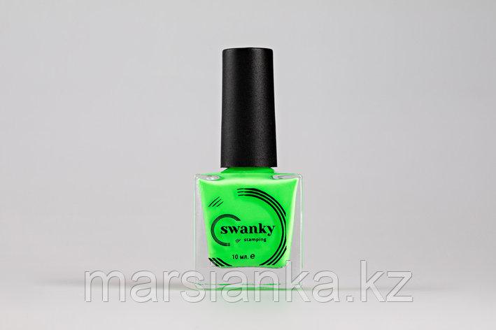 Лак для стемпинга Swanky Stamping №015, неоново-зеленый,10 мл, фото 2