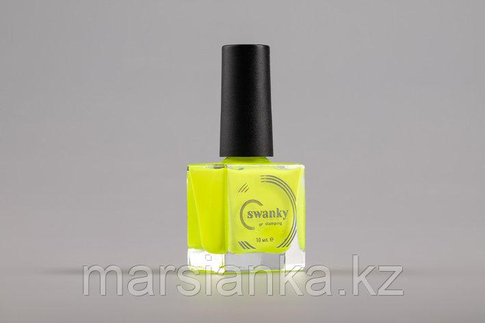Лак для стемпинга Swanky Stamping №018, неоново-желтый, 10 мл., фото 2