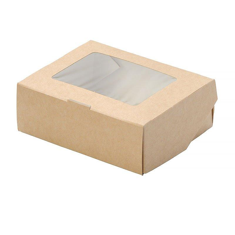 """Коробка """"DoEco"""" 100х80х35мм ECO TABOX 300 gl, с окном, коричн., 600 шт"""