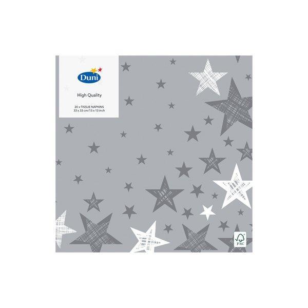 "Салфетки 33х33см, 3 сл., ""SHINING STAR GREY"", Бумага, 20 шт"