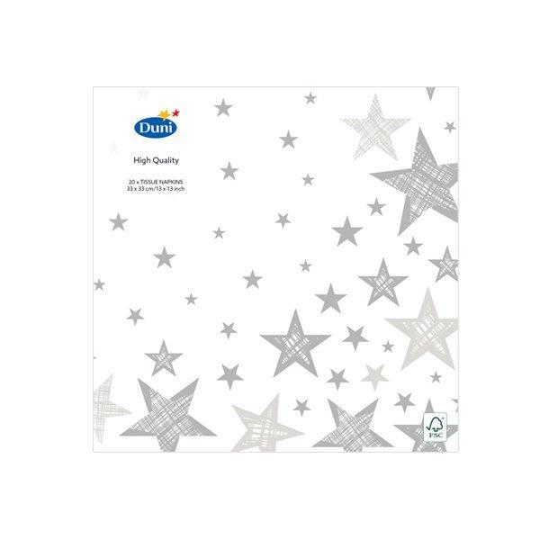 "Салфетки 33х33см, 3 сл., ""SHINING STAR WHITE"", Бумага, 20 шт"