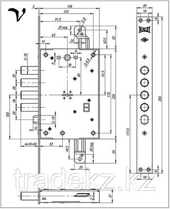 Замок врезной Kale Kilit 452 L, сувальдный, 5 ключей, фото 2