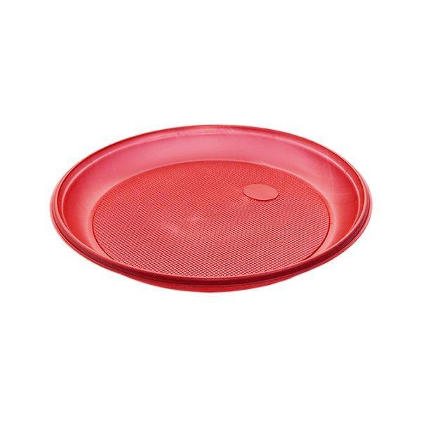 Тарелка d 205мм, красн., ПС, 12 шт
