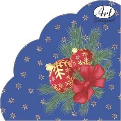 """Салфетки кругл., d 32см, 3 сл., """"Rondo"""", """"Новогодние шары на синем"""", Бумага, 12 шт, фото 2"""