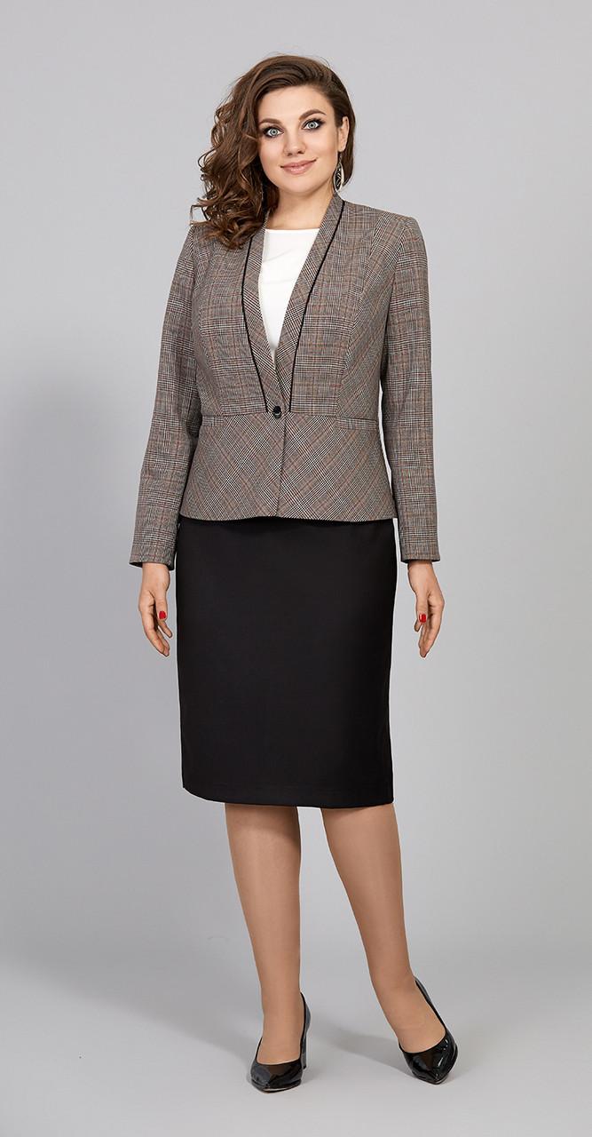 Костюм Olga Style-С619, коричневый+черный, 52
