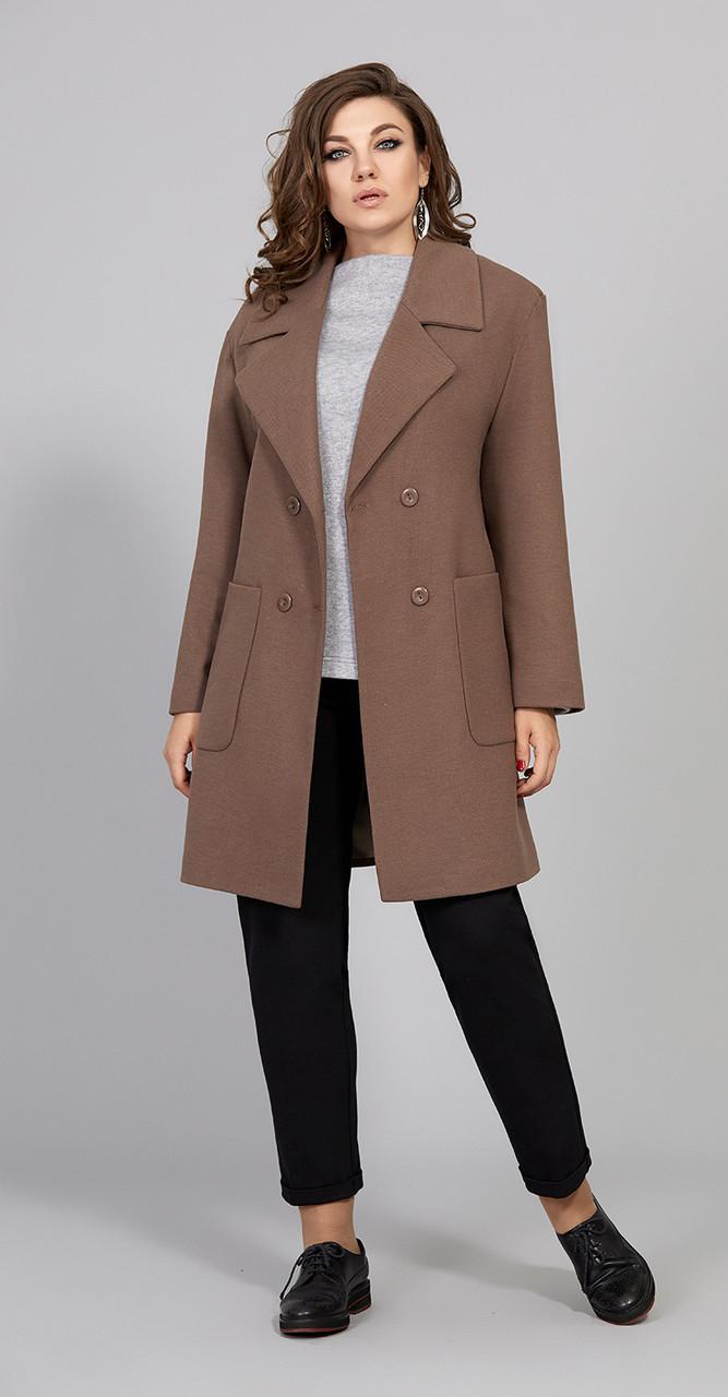 Пальто Olga Style-С306, коричневый, 48