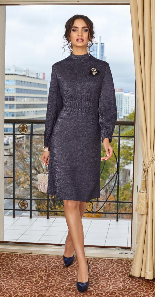 Платье Lissana-3856, синий с люрексом, 48