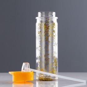 Бутылка для воды 500 мл, с соской, блестки, 24х10 см, микс - фото 3