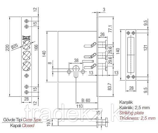 Замок врезной Kale Kilit 287 D, с цилиндром, 5 ключей, фото 2