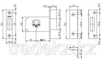 Замок врезной Kale Kilit 156 F, 3 ключа в комплекте, фото 2