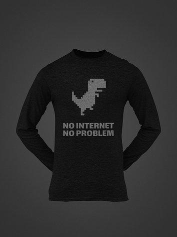 Лонгслив черный - No internet no problem, фото 2