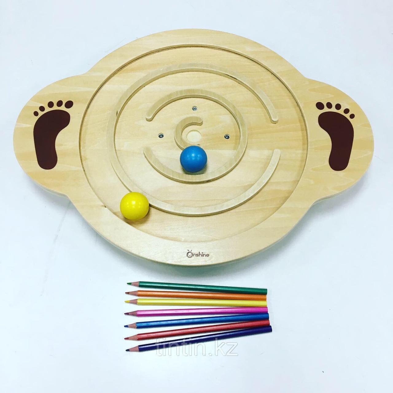 Деревянная доска-балансир для детей от 3 до 6 лет