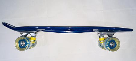 Синий Разноцветный Пенни Борд с ручкой (Penny Board), фото 2
