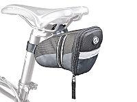 Сумка велосипедная под седло , черная с рефлексивной полосой
