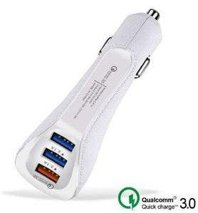 Зарядное устройство от прикуривателя Suhach с поддержкой Quick Charge 3.0 [3 USB порта] (Белый)