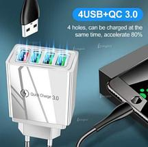 Адаптер быстрой зарядки 4хUSB + QC 3.0 для электрической розетки AR830 (Белый), фото 2