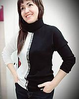Женская кофта водолазка черно-белая