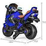 Детский электромобиль мотоцикл Kawasaki с надувными колесами, синий, фото 5