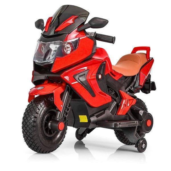 Детский электромобиль мотоцикл Kawasaki с надувными колесами, красный