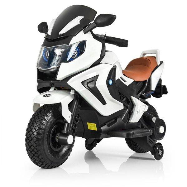 Детский электромобиль мотоцикл Kawasaki с надувными колесами, белый
