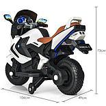 Детский электромобиль мотоцикл Kawasaki с надувными колесами, белый, фото 5