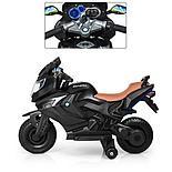 Детский электромобиль мотоцикл Kawasaki с надувными колесами, черный, фото 2