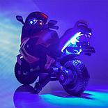 Детский электромобиль мотоцикл Kawasaki с надувными колесами, черный, фото 4
